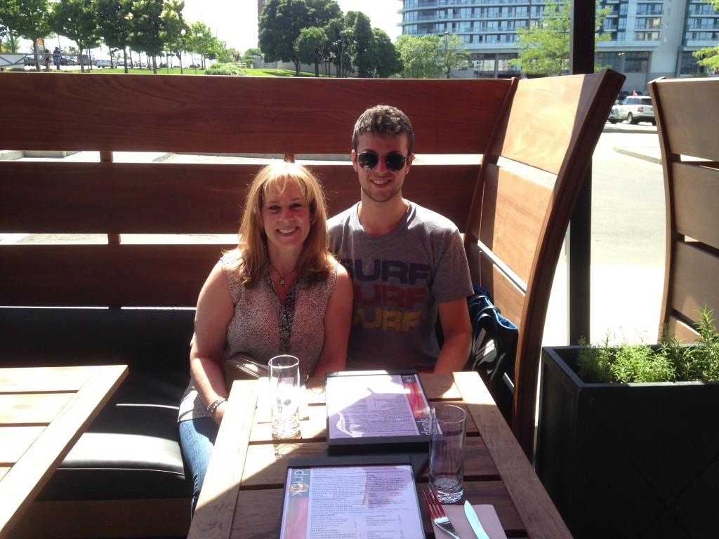 My son & I on the terrace of Origin North