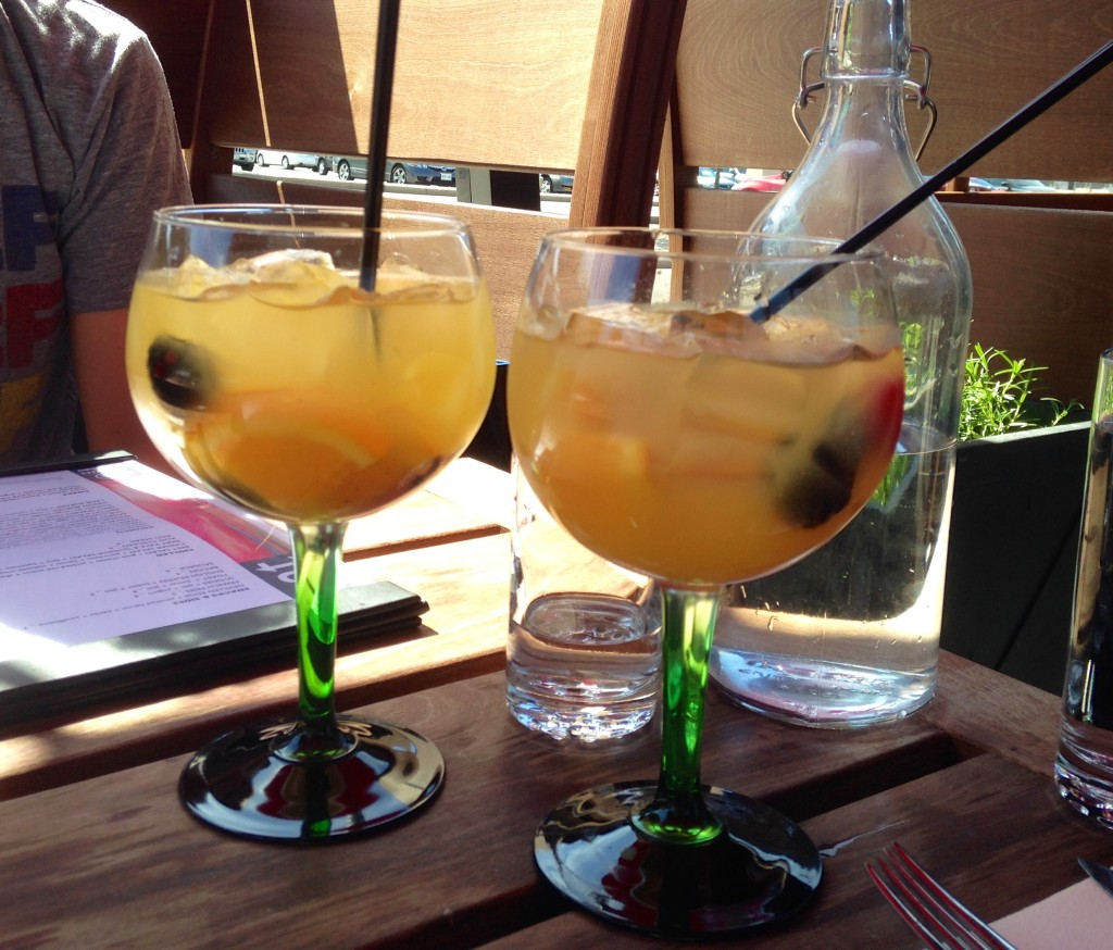 Origin North's White Sangria (white wine, triple sec, lychee liqueur & peach juice)