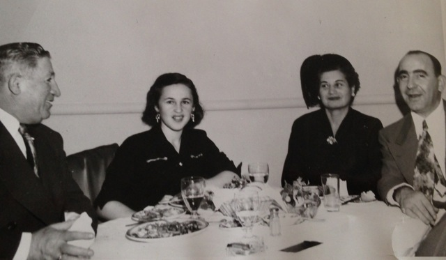Mom with Moishe Lighter (right) & the Lotansky's at Moishe's first restaurant, Leony's, Montreal 1951