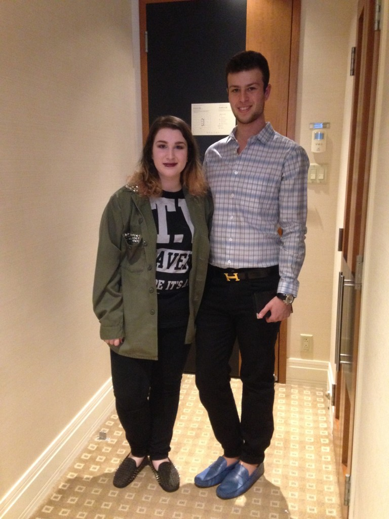 My daughter & son at the prestigious 4 Diamond Sofitel Hotel, Montreal, leaving for Moishe's Steakhouse