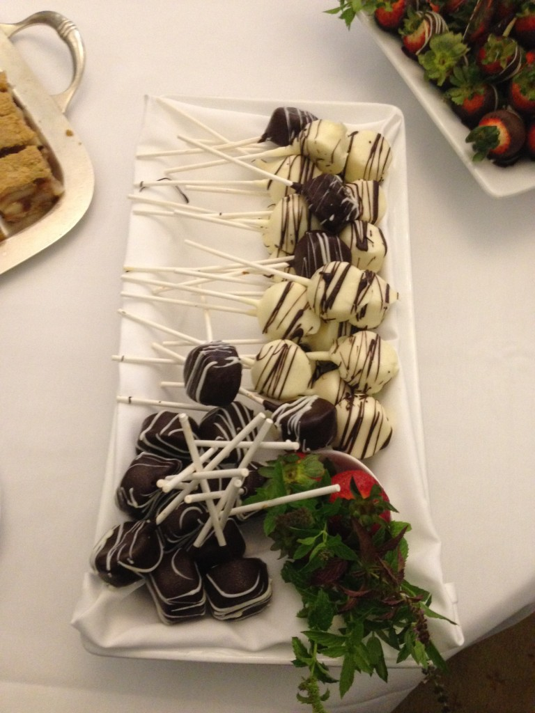 Decadent cake lollipops served during the dessert reception