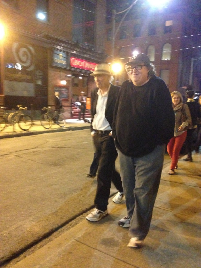 The ultra fashionable film-maker Michael Moore, all dressed up for the festival