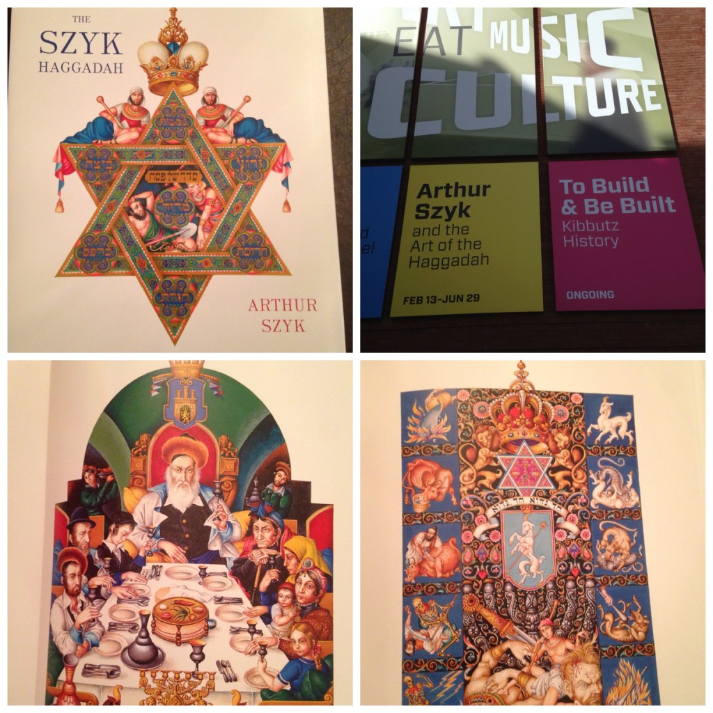 The Arthur Szyk Exhibit at the Contemporary Jewish Museum in San Francisco February 2014 and some of the pages of our Haggadah