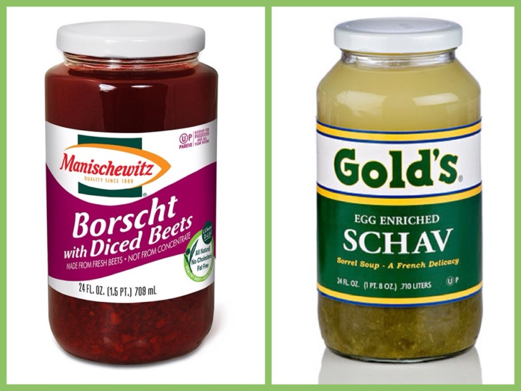 And here they are: The sensational Borscht & Schav - sisters from another mother! Borscht - the one and only - can be mixed with raw eggs (nasty) or with sour cream & boiled potatoes (a little better but not far from nasty)! Schav, now discontinued by Manischewitz (I wonder why!) - a concoction of sorrel & lemon (Photo source: Borscht - Manischewitz.com; Schav -