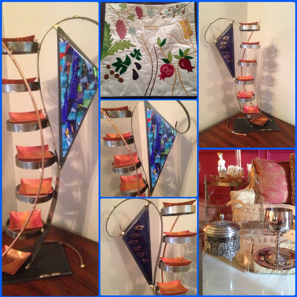 Passover Judaica in my home - beautiful, cherished gifts from family & friends and a stunning vertical seder plate by artist Gary Rosenthal