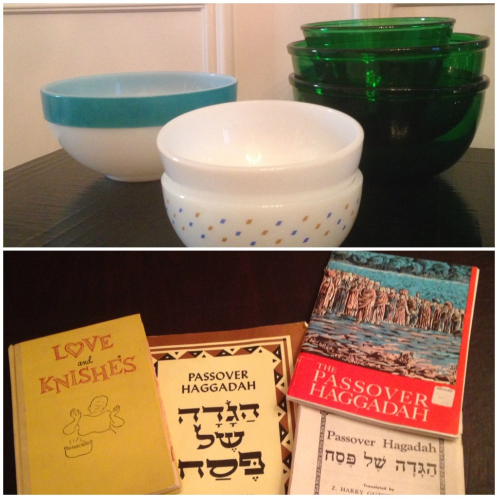 Here are my mom's green bowls and a few others along with a cookbook she was given, published in 1956 which was given to me and some older Haggadahs that we used to use at our family seders