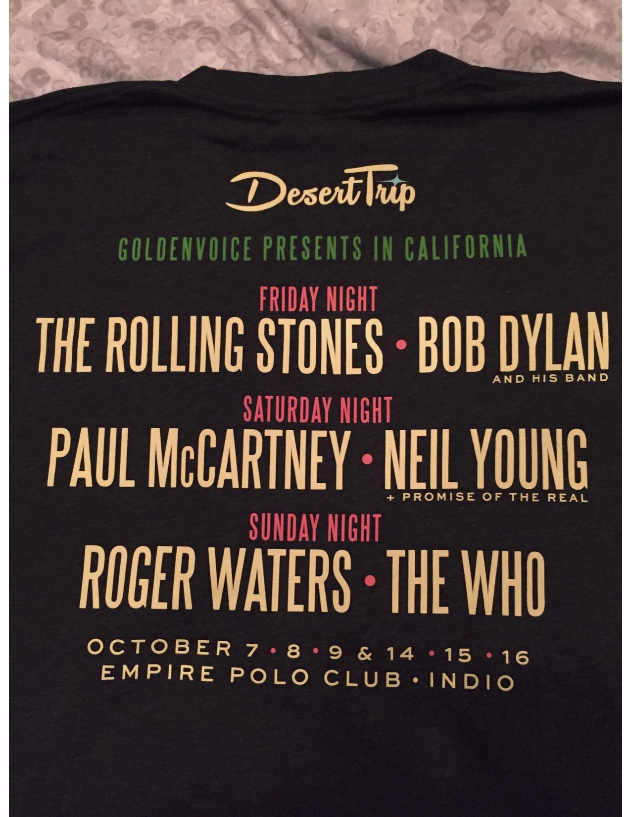 Souvenir Desert Trip t-shirt announcing all the bands.